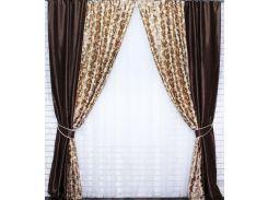 Комбинированные шторы VR-Textil блэкаут коричневые с бежевым 2 шт 1,5 × 2,7 м (2017)