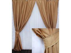 Комплект готовых декоративных штор VR-Textil под лён горчичный 2 шт 1,5×2,70 м (2184)