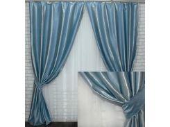 Комплект готовых штор VR-Textil блэкаут Софт полоса голубой 2 шт 2,75×1,45 м (2192)