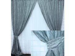 Комплект готовых штор VR-Textil блэкаут фактура Лен Короед серый 2 шт 3,1×1,45 м (2187)