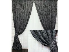 Комплект готовых штор VR-Textil блэкаут фактура Лен Короед серый с черным 2 шт 3,1×1,45 м (2186)