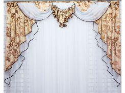 Ламбрекен из плотной ткани VR-Textil бежевый с белым 1 шт 1,5 × 2 м (2039)