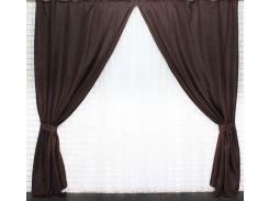Шторы VR-Textil коллекция Лен Мешковина шоколад 2 шт 1,5 × 2,75 м (2021)