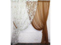 Комплект готовых декоративных штор VR-Textil органза с шифоном коричневый 2 шт 3 × 2,7 м (2229)