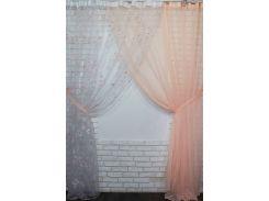 Комплект готовых декоративных штор VR-Textil органза с шифоном персиковый 2 шт 3 × 2,7 м (2227)
