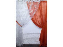 Комплект готовых декоративных штор VR-Textil органза с шифоном терракотовый 2 шт 3 × 2,7 м (2228)