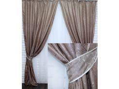 Комплект готовых жаккардовых штор VR-Textil Савана какао 2 шт 1,5×2,75 м (2202)