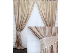 Комплект готовых жаккардовых штор VR-Textil Савана карамельный 2 шт 1,5×2,7 м (2205)