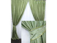 Комплект готовых жаккардовых штор VR-Textil Савана оливковый 2 шт 1,5×2,7 м (2208)