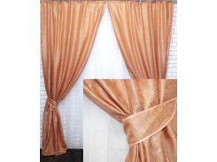 Комплект готовых жаккардовых штор VR-Textil Савана оранжевый 2 шт 1,5×2,7 м (2201)