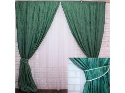 Комплект готовых штор VR-Textil блэкаут коллекция Лён Короед зеленый 2 шт 3,1 × 1,45 м (2209)