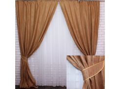 Комплект готовых штор VR-Textil блэкаут коллекция Лён Короед терракотовый 2 шт 3,1 × 1,45 м (2210)