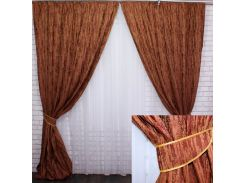 Комплект готовых штор VR-Textil блэкаут коллекция Лён Короед терракотовый 2 шт 3,1 × 1,45 м (2211)