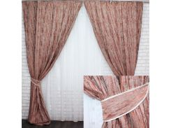 Комплект готовых штор VR-Textil блэкаут Лён Короед светло-коричневый 2 шт 3,1 × 1,45 м (2212)