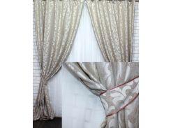 Комплект готовых штор VR-Textil Вензель какао 2 шт 1,5 × 2,8 м (2216)
