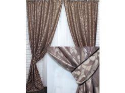 Комплект готовых штор VR-Textil Вензель коричневый 2 шт 1,5 × 2,7 м (2217)