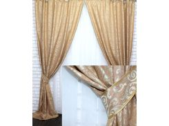 Комплект готовых штор VR-Textil Вензель оранжевый 2 шт 1,5 × 2,8 м (2219)
