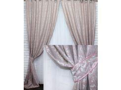 Комплект готовых штор VR-Textil Вензель пудровый 2 шт 1,5 × 2,8 м (2220)