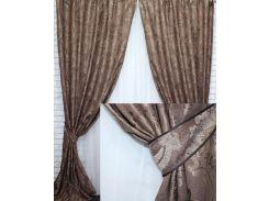 Комплект готовых штор VR-Textil с узором коллекция Корона коричневый 2 шт 1,5 × 2,7 м (2223)