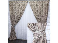 Комплект готовых штор VR-Textil с узором коллекция Корона коричневый 2 шт 1,5 × 2,75 м (2215)