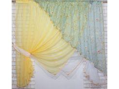 Кухонные шторки с подвязками VR-Textil желтые с белым 3 × 1,7 м (2198)
