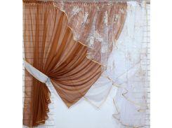 Кухонные шторки с подвязками VR-Textil коричневые с белым 3 × 1,7 м (2196)