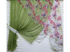 Кухонные шторки с подвязками VR-Textil оливковые с белым 3 × 1,7 м (2194)