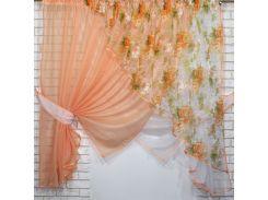 Кухонные шторки с подвязками VR-Textil персиковые с белым 3 × 1,7 м (2197)