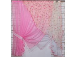 Кухонные шторки с подвязками VR-Textil розовый с белым 3 × 1,7 м (2199)