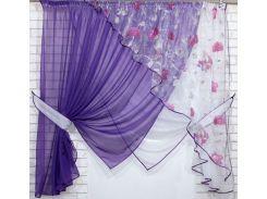 Кухонные шторки с подвязками VR-Textil фиолетовые с белым 3 × 1,7 м (2195)
