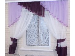 Кухонные шторы с ламбрекеном VR-Textil сиреневый-фиолетовый-белый 3 × 1,7 м (2016)
