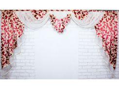 Ламбрекен из плотной ткани VR-Textil красный с белым 1 шт 1,4 × 2,5 м (2038)