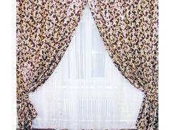 Шторы VR-Textil блэкаут двусторонний коричневые с бежевым 1 × 2,7 м (2035)
