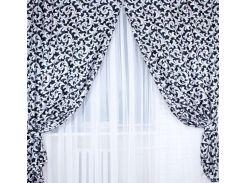 Шторы VR-Textil блэкаут двусторонний черные с белым 1 × 2,7 м (2034)