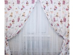 Шторы VR-Textil для детской комнаты белые с принтом 2 шт 1,45 × 2,75 м (2043)