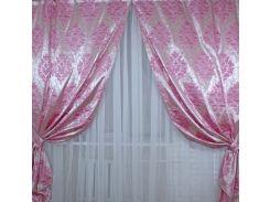 Шторы VR-Textil коллекция Корона жаккард розовые 2 шт 1,5 × 2,8 м (2050)