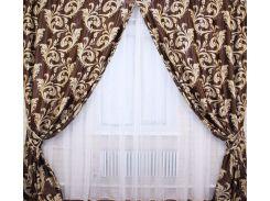 Шторы VR-Textil Лилия блэкаут коричневые 1 × 2,7 м (2026)