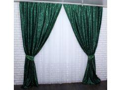 Шторы VR-Textil Вензель жаккард зеленые 2 шт 1,5 × 2,8 м (2178)