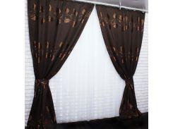 Шторы VR-Textil с узором листья темно-коричневые 2 шт 1,5 × 2,7 м (2055)
