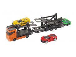 Игровой набор Teamsterz Тимстерс Автотранспортер и 3 машинки оранжевый (1373621)