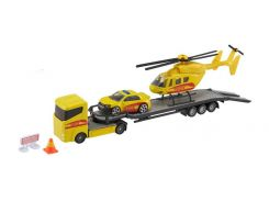 Игровой набор Teamsterz Тимстерс Перевозчик с машиной и вертолетом желтый (1373618)