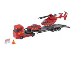 Игровой набор Teamsterz Тимстерс Перевозчик с машиной и вертолетом красный (1373618)