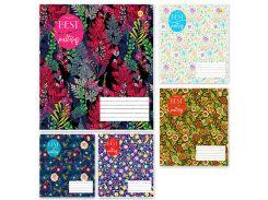 Набор тетрадей школьных 10 шт Тетрада 60 листов клетка А5 Цветочная 5 дизайнов (01682)