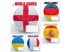 Набор тетрадей школьных 25 шт Тетрада 12 листов клетка А5 Мяч 5 дизайнов (01182)