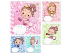 Набор тетрадей школьных 25 шт Тетрада 12 листов клетка А5 Принцессы 5 дизайнов (01187)
