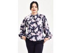 Блуза Julin ТМ Джулин с воротничком-стойкой и украшением синяя с розовым размер 50 (BD120_1_50)