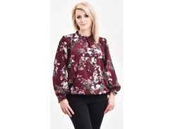 Блуза Julin ТМ Джулин с воротничком-стойкой и украшением бордовая размер 50 (BD120_3_50)