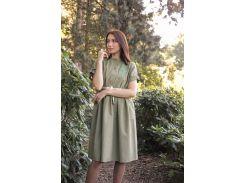 Платье Innoe Инное с вышивкой Бамбук и поясом натуральный лен цвет олива 44-46 (270183-1/44-46)