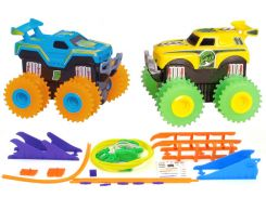 Машинки Трикс Тракс Trix Trux на батарейках с трассой синяя и желтая (JLT-AS332BY)