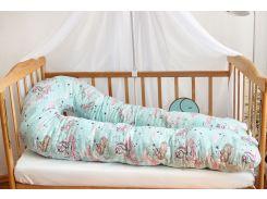 Наволочка на подушку для беременных Добрый сон 120 см мятная в единороги (13-01-1/2)